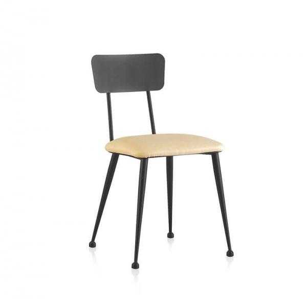 Chaise de séjour en métal avec assise en synthétique crème - Lanuza - 2