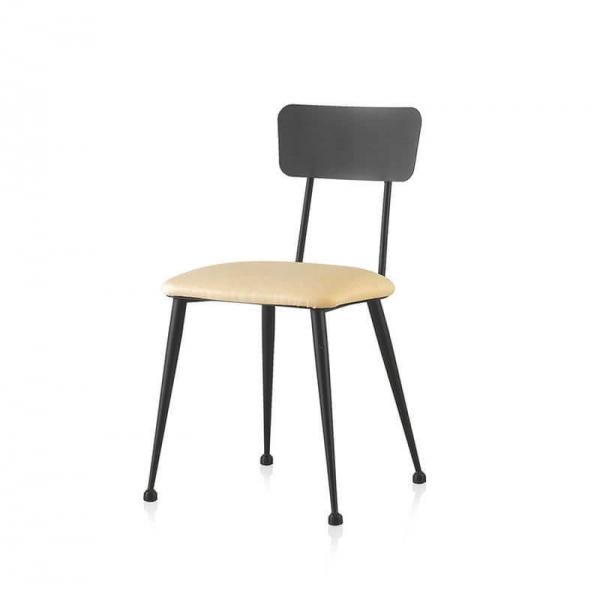 Chaise de salle à manger moderne en métal noir et assise crème - Lanuza - 3