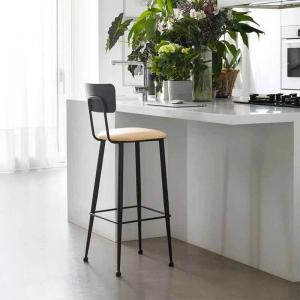 Chaise haute de cuisine en métal noir et assise blanche rembourrée - Lanuza