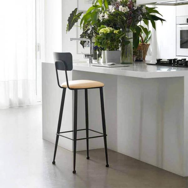 Chaise haute de cuisine en métal noir et assise blanche rembourrée - Lanuza  - 1