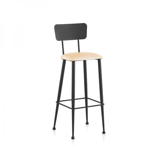 Chaise haute pour îlot central de cuisine noir et blanc - Lanuza - 2