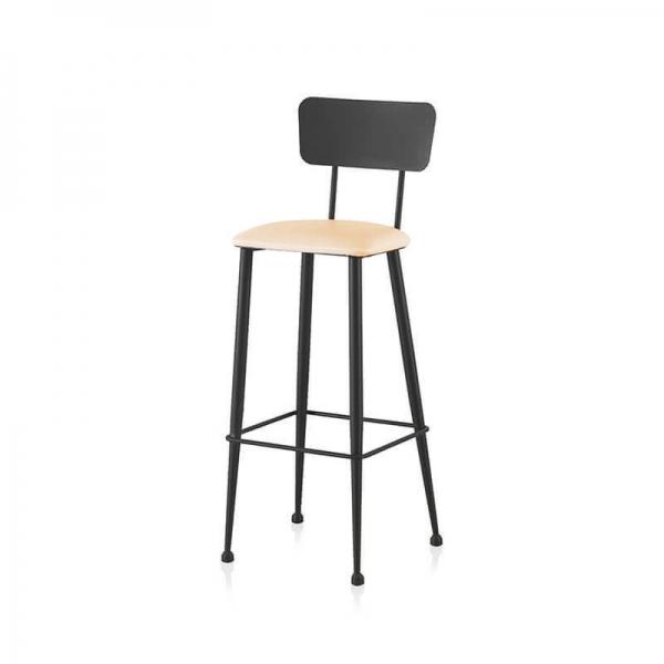 Chaise de cuisine haute noire avec assise rembourrée blanche - Lanuza - 3