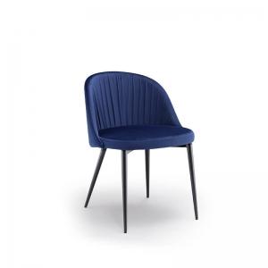 Chaise italienne en tissu velours bleu et pieds métal noirs - Rose