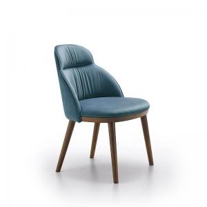 Chaise de salle à manger cocooning en bois et tissu bleu - Cloud