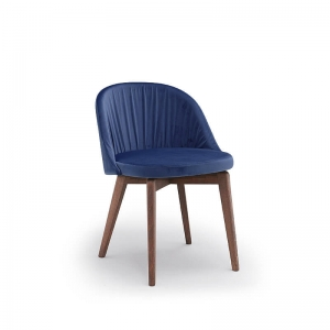 Chaise moderne de salle à manger en tissu bleu et bois - Rose W2