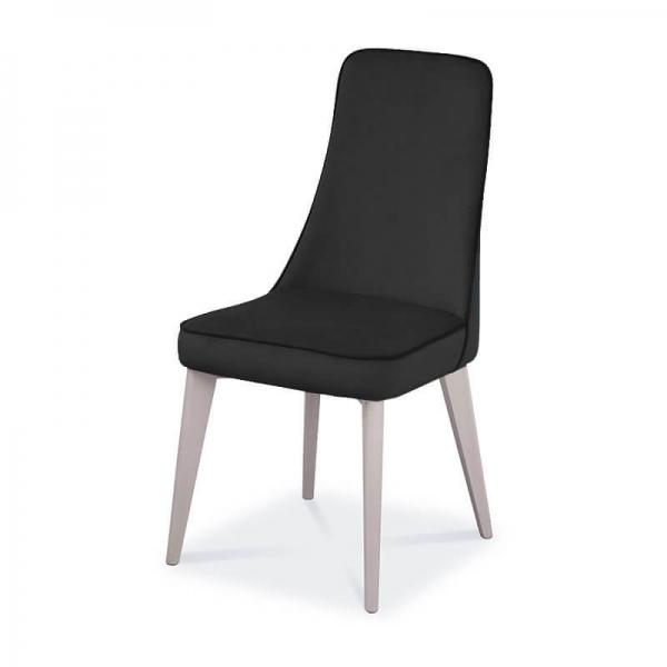 Chaise de salle à manger en synthétique et pieds en bois massif - Nadine - 2