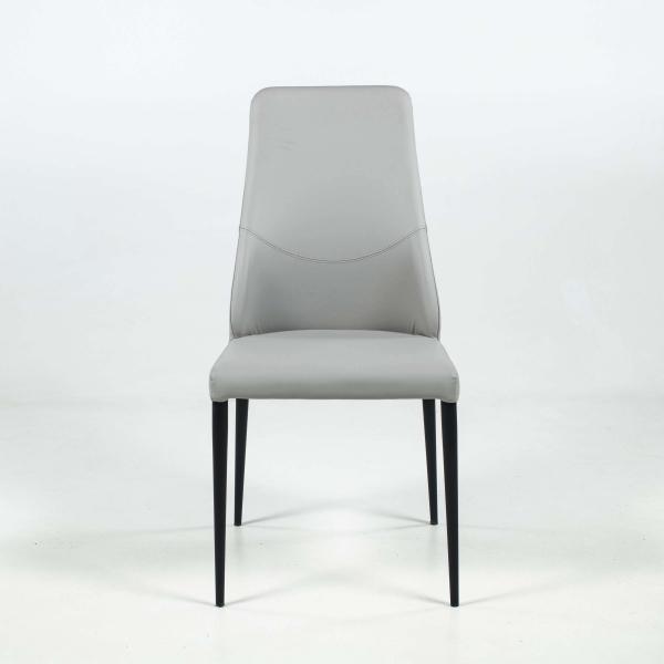 chaise moderne en synthétique gris clair avec dossier incurvé - Mathilde - 2