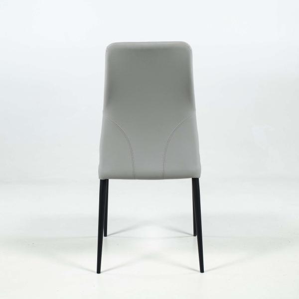 Chaise italienne moderne en synthétique gris avec dossier incurvé - Mathilde - 4
