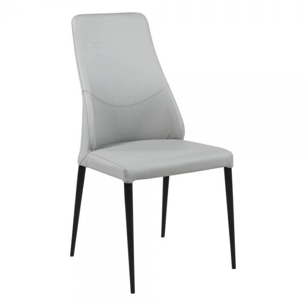 Chaise moderne en synthétique gris avec dossier incurvé - Mathilde - 1