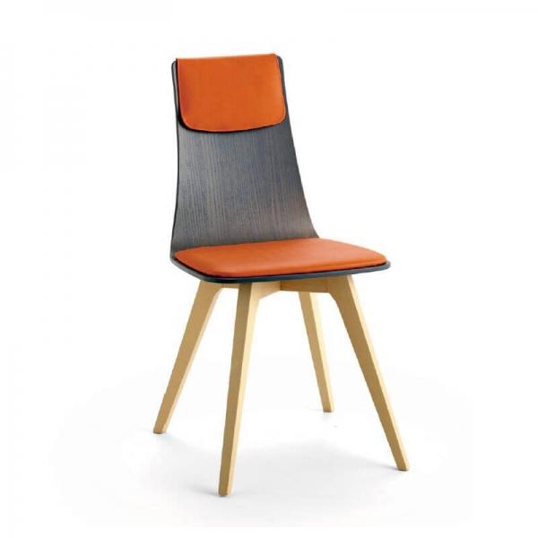 Chaise italienne design tricolore en tissu orange avec pieds en bois blanchi - Amélie - 1