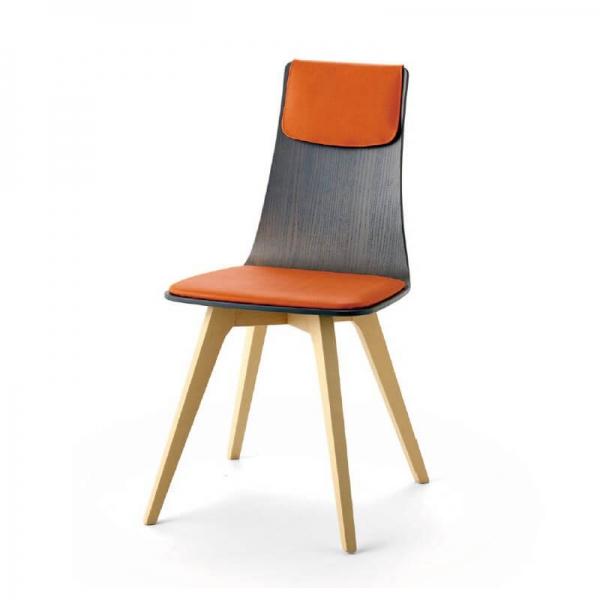 Chaise italienne design tricolore avec pieds en bois - Amélie - 2