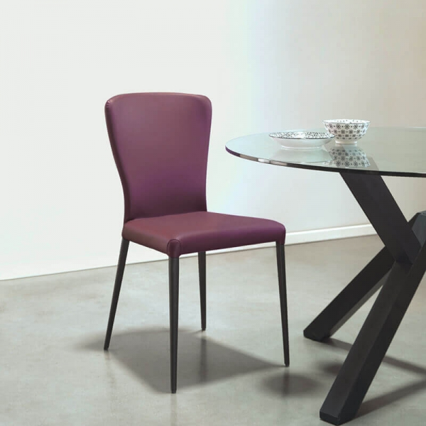 Chaise moderne italienne mauve pieds en métal noir - Francine - 1