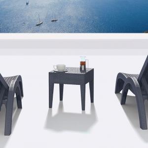 Table basse de jardin carrée en résine tressée - Miami