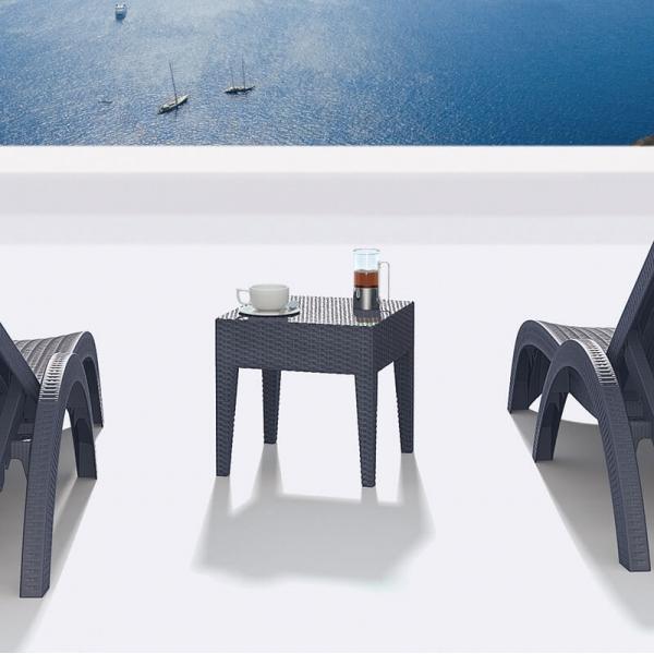 Table basse de jardin carrée en résine tressée - Miami - 1