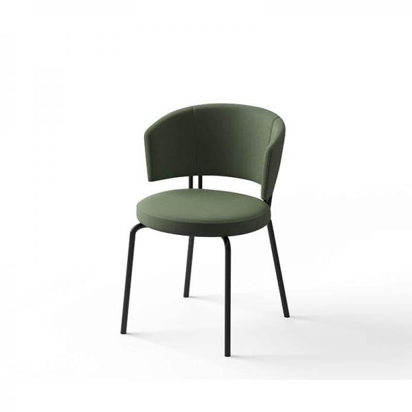 Chaise design en tissu vert - 3