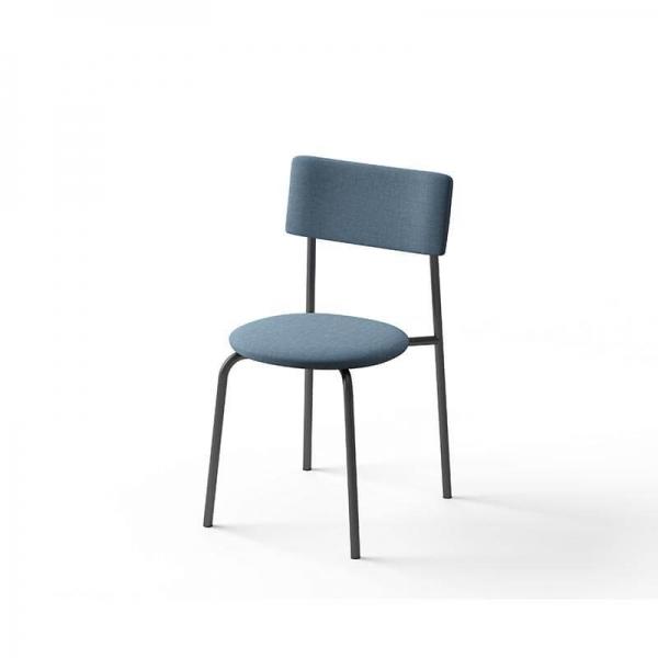 Chaise en tissu bleu  - 4