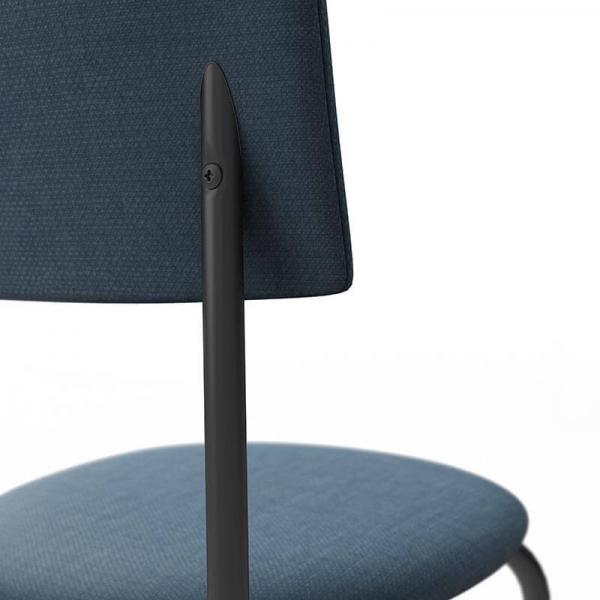 Chaise de cuisine en tissu bleu  - 6