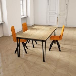 Table de salle à manger rectangulaire en stratifié pieds en épingle - Okaso