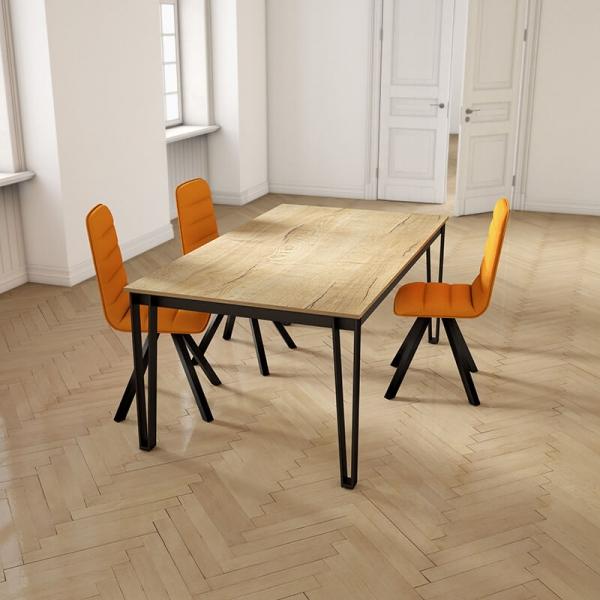 Table de salle à manger rectangulaire en stratifié pieds en épingle - Okaso  - 1