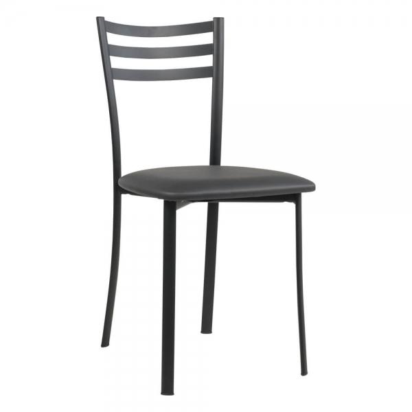 Chaise de cuisine en métal noir assise noire - Ace 1320 - 45