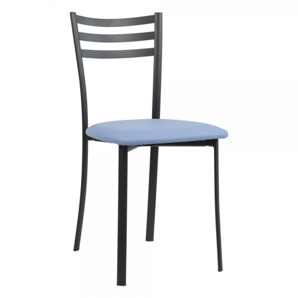 Chaise de cuisine rembourrée en métal noir assise bleue- Ace 1320 - 46