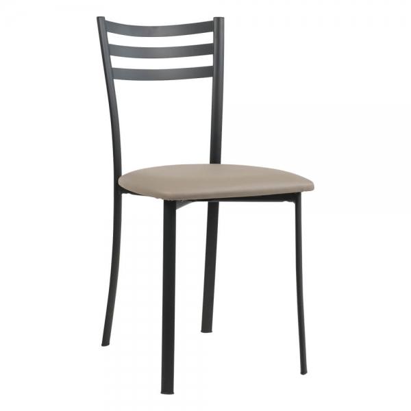 Chaise de cuisine en métal noir rembourrée - Ace 1320 - 52