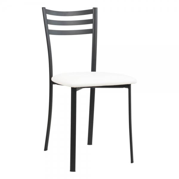 Chaise de cuisine en métal noir assise blanche- Ace 1320 - 53