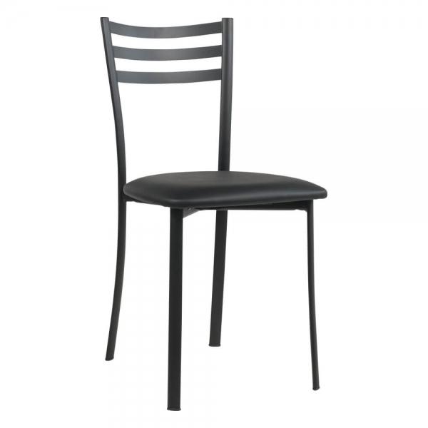 Chaise de cuisine métal noir assise noire rembourrée - Ace 1320 - 54
