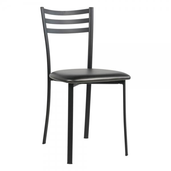 Chaise de cuisine en métal noir assise rembourrée - Ace 1320 - 55