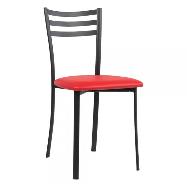 Chaise de cuisine en métal noir assise rouge - Ace 1320 - 56