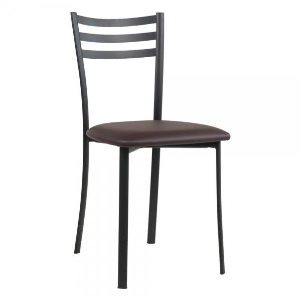 Chaise de cuisine en métal noir assise marron - Ace 1320 - 57