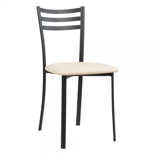Chaise de cuisine en métal noir assise rembourrée - Ace 1320 - 58