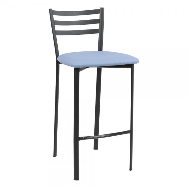 Tabouret snack en métal noir assise bleue- Ace 1329 - 40