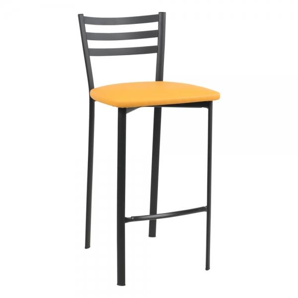 Tabouret snack en métal noir assise jaune - Ace 1329 - 44