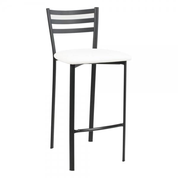 Tabouret snack en métal noir assise blanche - Ace 1329 - 47