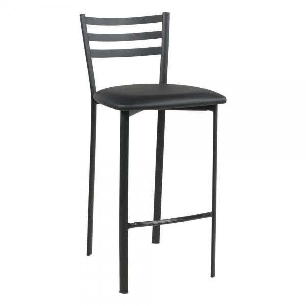Tabouret snack en métal noir assise noire - Ace 1329 - 48
