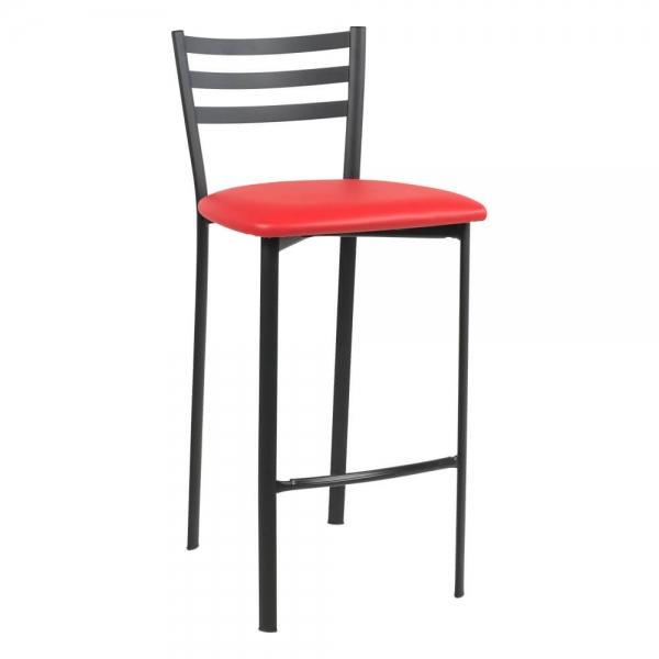 Tabouret snack en métal noir assise rouge - Ace 1329 - 50