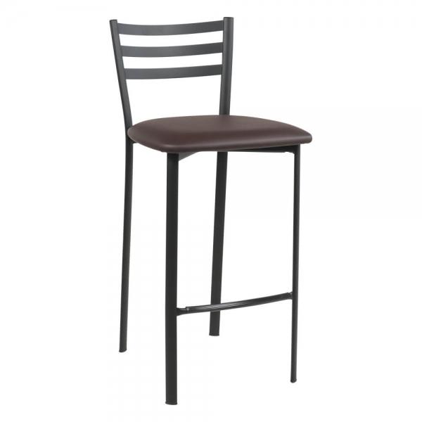 Tabouret snack en métal noir assise rembourrée - Ace 1329 - 51