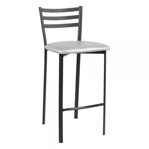 Tabouret snack en métal noir assise aluminium - Ace 1329 - 53