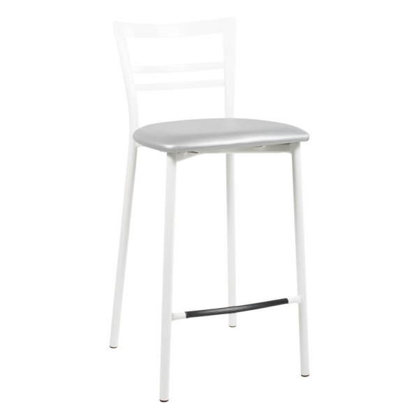 Tabouret snack en métal blanc assise aluminium - 1513 - 88