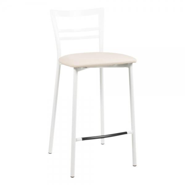 Tabouret snack en métal blanc assise rembourrée - 1513 - 89