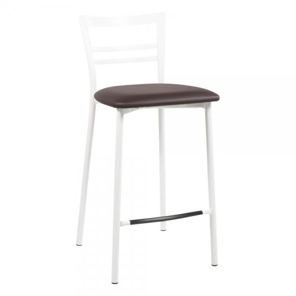 Tabouret snack rembourré en métal blanc assise marron - 1513 - 90