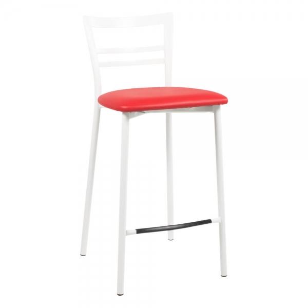 Tabouret snack rembourré en métal blanc assise rouge - 1513 - 91