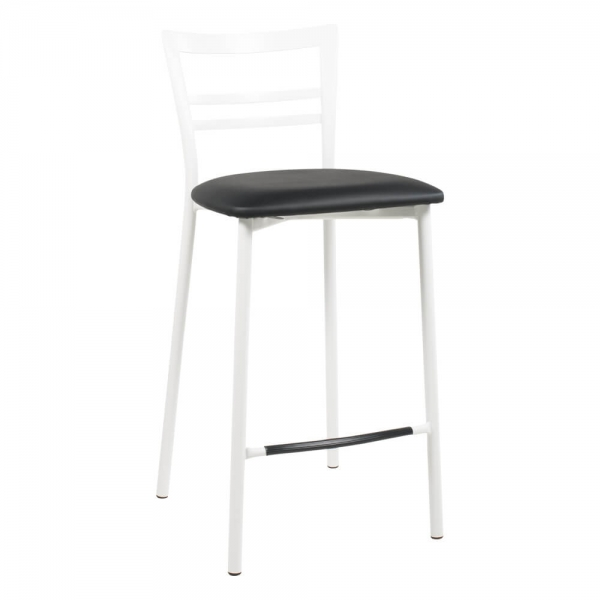 Tabouret snack structure en métal blanc assise noire - 1513 - 93