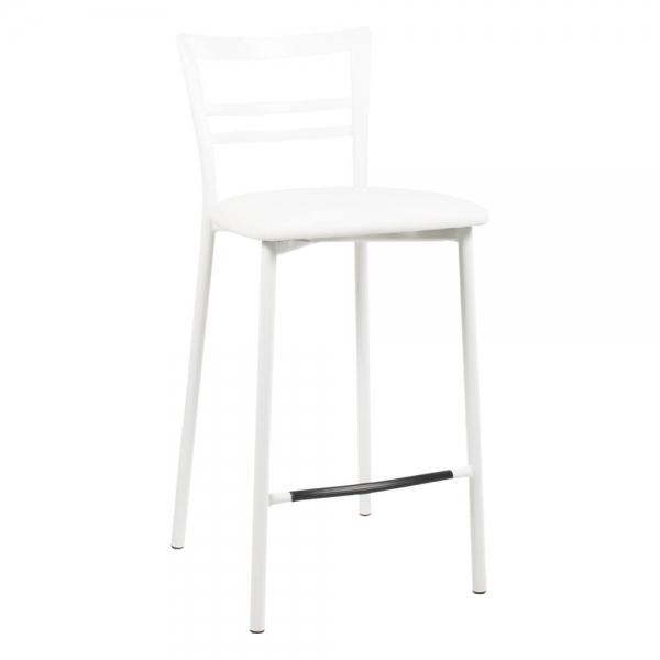 Tabouret snack rembourré en métal blanc assise blanche - 1513 - 94