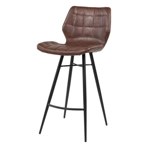 Tabouret vintage marron pieds en métal noir - Impia - 14