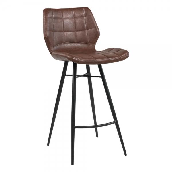 Tabouret vintage pieds en métal noir assise marron - Impia - 15