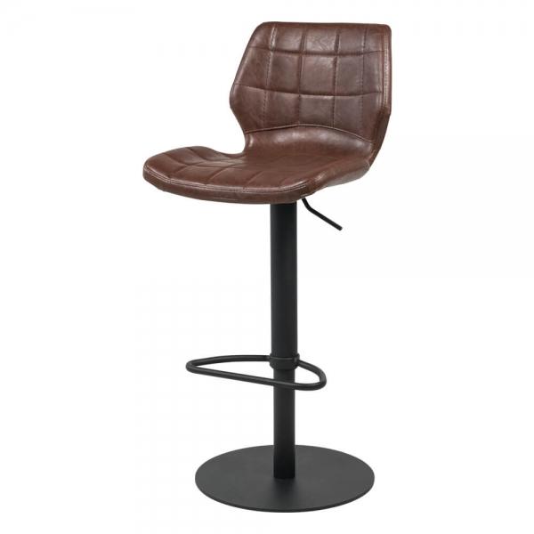 Tabouret réglable marron vintage avec pied en métal noir - Indica - 12