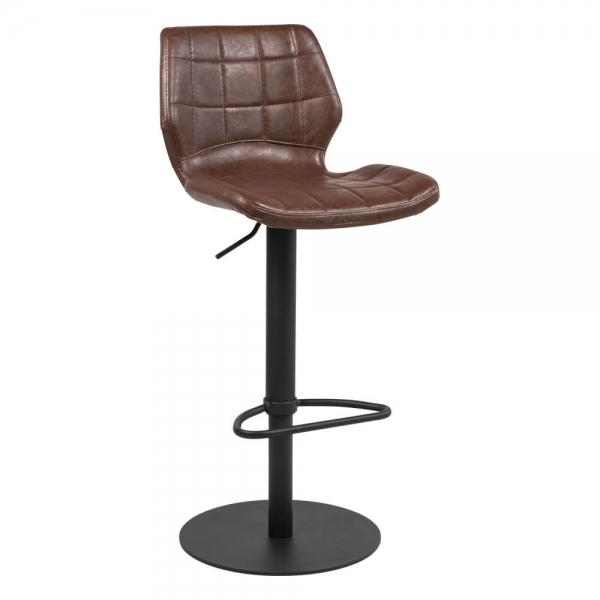 Tabouret réglable vintage métal noir et assise marron - Indica - 13
