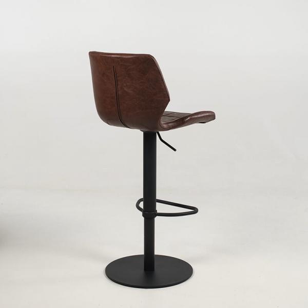 Tabouret réglable marron vintage avec pied en métal noir - Indica - 14